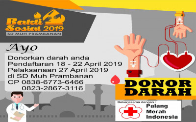 SD Muhammadiyah Prambanan bekerja sama dengan UTD PMI Cabang Sleman